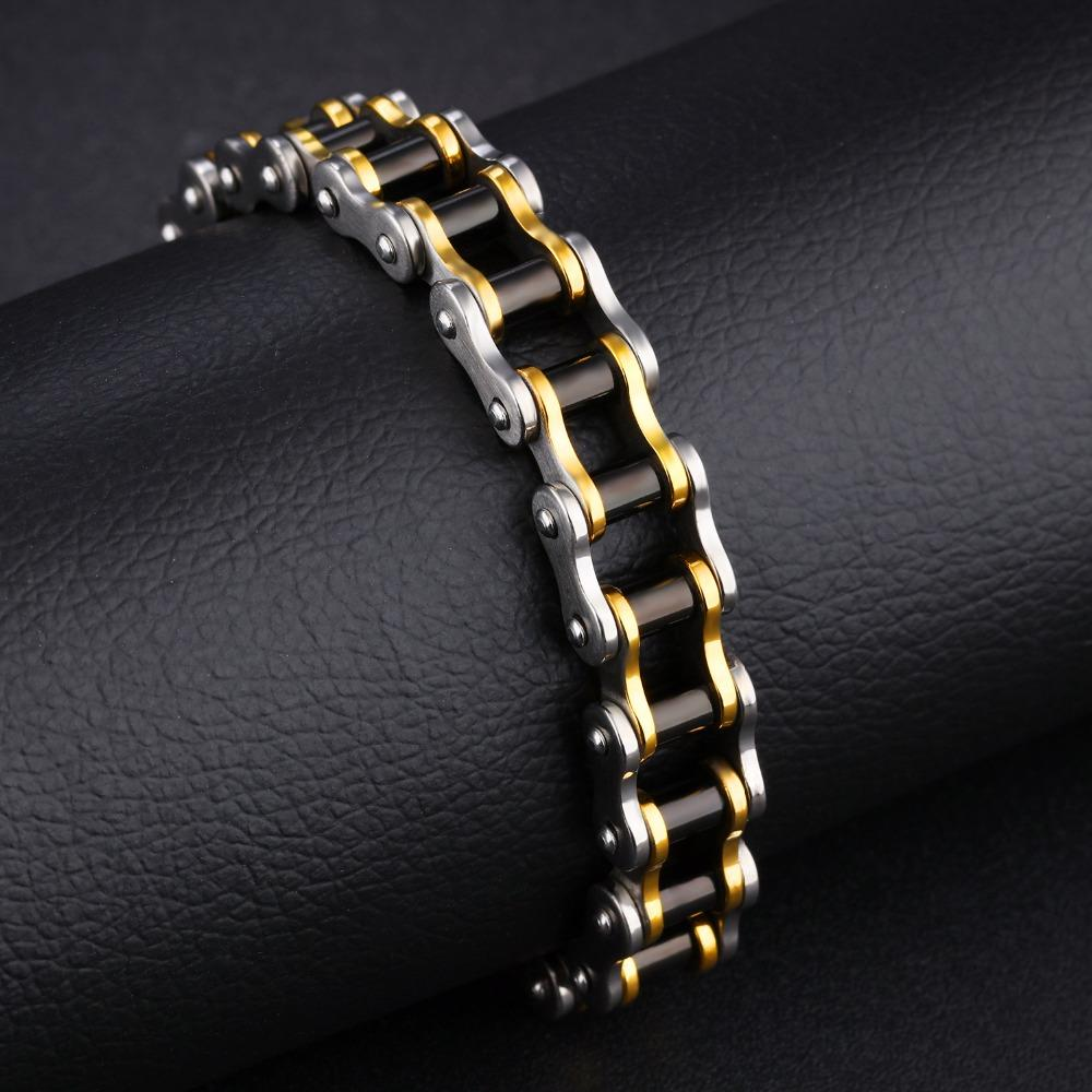 Tri Tone Ion Plated Stainless Steel Chain Bracelet 13mm Width 5 Day