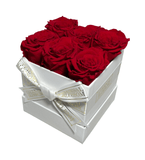 6 Piece Blossom Box - White Box - 20 Year Lasting Rose Colours-Eternal Blossom - Year Lasting Infinity Roses