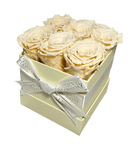 6 Piece Blossom Box - Ivory Box - 20 Colours of Year Lasting Infinity Roses