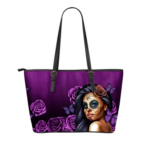 Calavera Leather Tote Bag- Blue, Pink, Purple