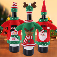 Christmas Wine Bottle Covers with Hat Sweater Party Decorations Holiday 3pcs