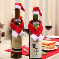 2PCS Mini Christmas Santa Claus Hat and Mini Christmas Scarf for Christmas Silverware Holders, Candy Covers, Wine Bottle Decorations