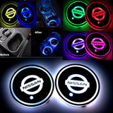 NISSAN- 2Pcs Switchable 7 RGB Color LED Car Cup Holder Pad Mat Atmosphere Light