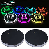 HONDA 2Pcs Switchable 7 RGB Color LED Car Cup Holder Pad Mat Atmosphere Light