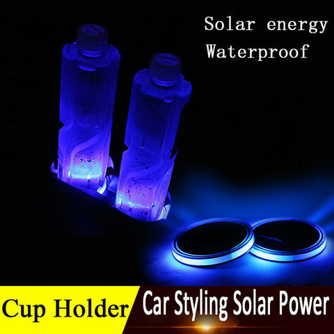 LED Cup Holder Bottom Pad- powered by Solar Energy- water proof-2pcs