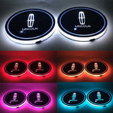2Pcs Switchable 7 RGB Color LED Car Cup Holder Pad Mat Atmosphere Light for LINCOLN