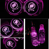 2Pcs Switchable 7 RGB Color LED Car Cup Holder Pad Mat Atmosphere Light for BUICK