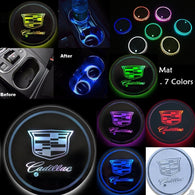 2Pcs Switchable 7 RGB Color LED Car Cup Holder Pad Mat Atmosphere Light For Cadillac