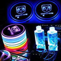 Switchable 7 Colors LED Car Cup Holder Bottom Pad Atmosphere Light For Dodge
