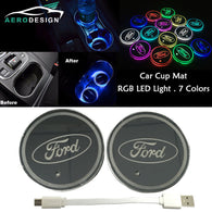 2Pcs Switchable 7 RGB Color LED Car Cup Holder Pad Mat Atmosphere Light For Ford