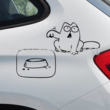 Cat Bowl Funny Gas Cap Vinyl Car Sticker