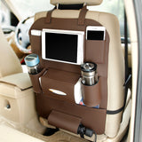 Leather Car Organizer for  Seat- Back Folding Portable Storage Bag