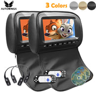 2DVD- of 9 inch Leather Cover Car Headrest Monitor-DVD Video Player-TFT LCD Screen Support USB/SD/FM/Game/Speaker Wireless Headphone
