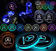 Switchable 7 Colors LED Car Cup Holder Bottom Pad Atmosphere Light For Mercedes Benz