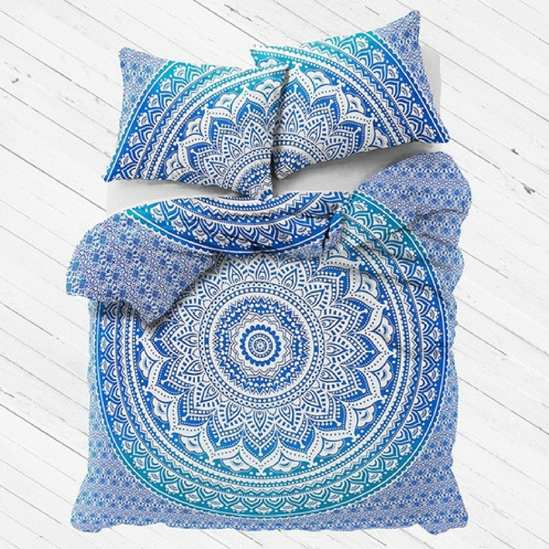 Shades Of Blue And Turquoise Mandala Bedding Duvet Cover Set Or Flat