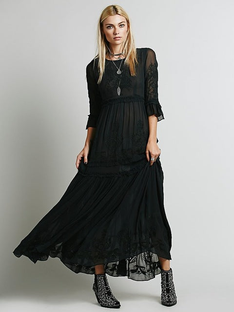 68b02a98a4f Long dress O-neck Maxi Bohemia Loose Vintage Embroider dresses Sexy Retro hippie  chic