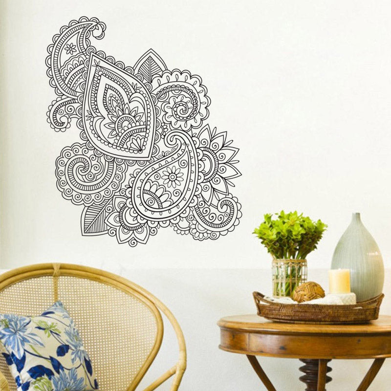 Ehome mehndi wall stickers home decoration living room art mandala sticker window wall decals vinyl wall