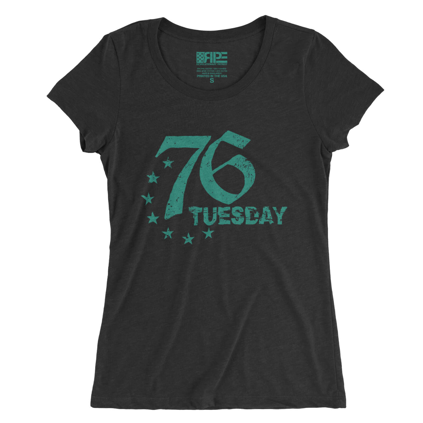 76 Tuesday - (Charcoal Triblend) Aqua