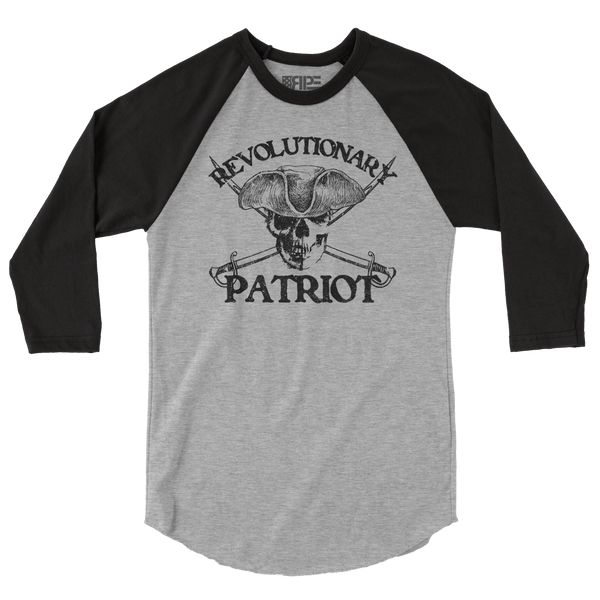 Black Flag 3/4 Sleeve (Heather Grey / Black) - Revolutionary Patriot