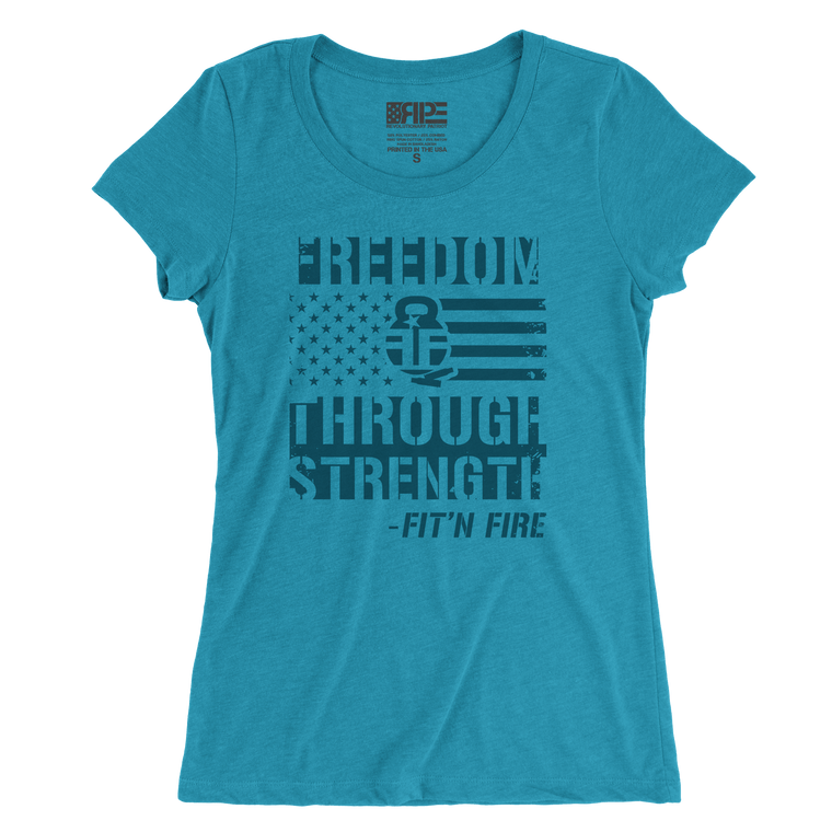 Freedom Through Strength Women's - (Aqua Triblend)
