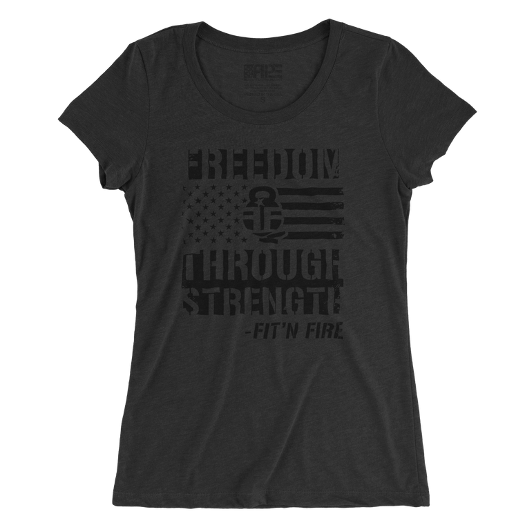 Freedom Through Strength Women's - (Charcoal Triblend)