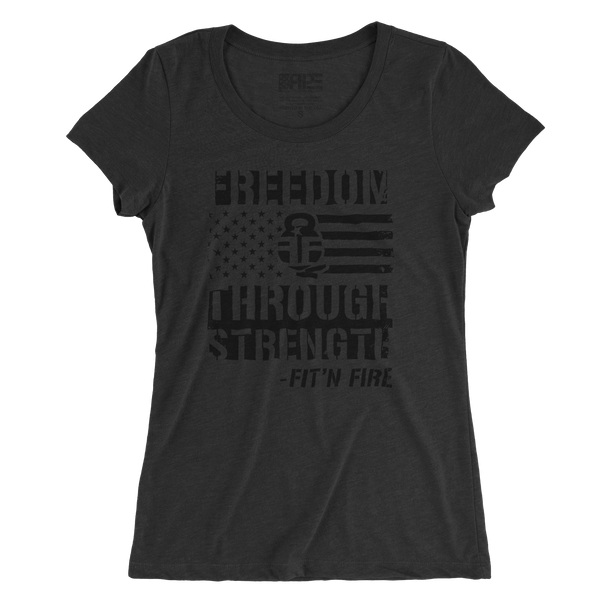 Freedom Through Strength Women's - (Charcoal Triblend) - Revolutionary Patriot