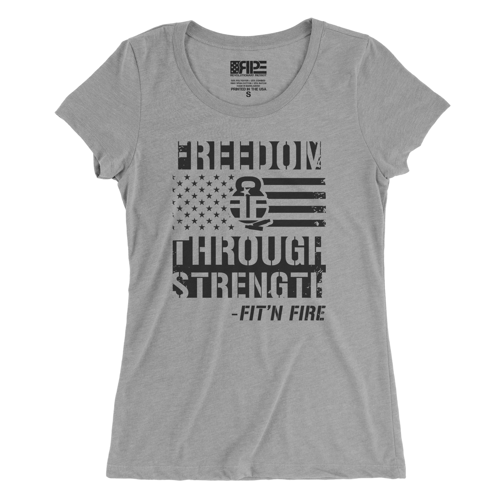 Freedom Through Strength Women's - (Grey) - Revolutionary Patriot