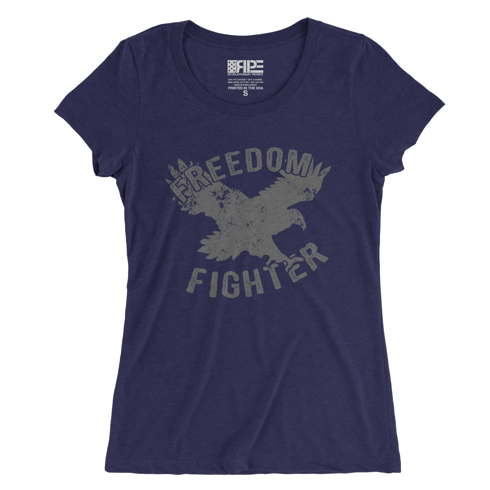 Freedom Fighter Women's - (Heather Navy Triblend) - Revolutionary Patriot