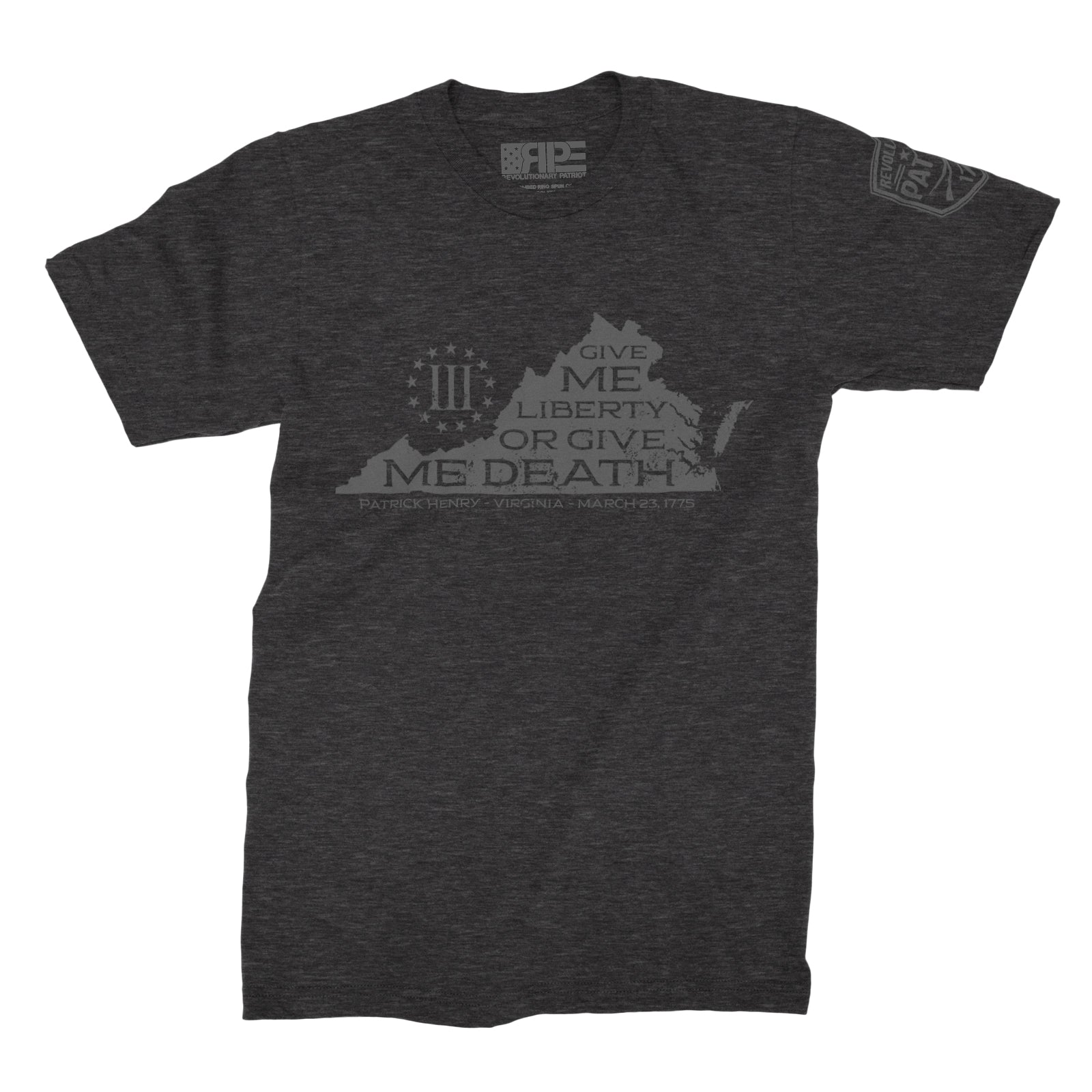 Give Me Liberty - VA Three Percenters (Dark Grey Heather) - Revolutionary Patriot
