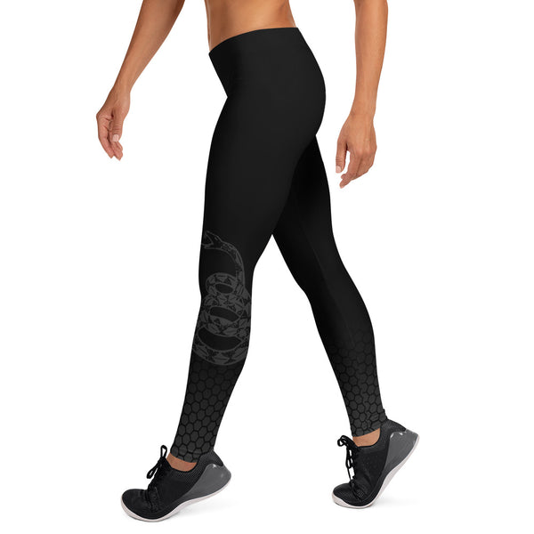 Don't Tread on Me Leggings (Black) - Revolutionary Patriot
