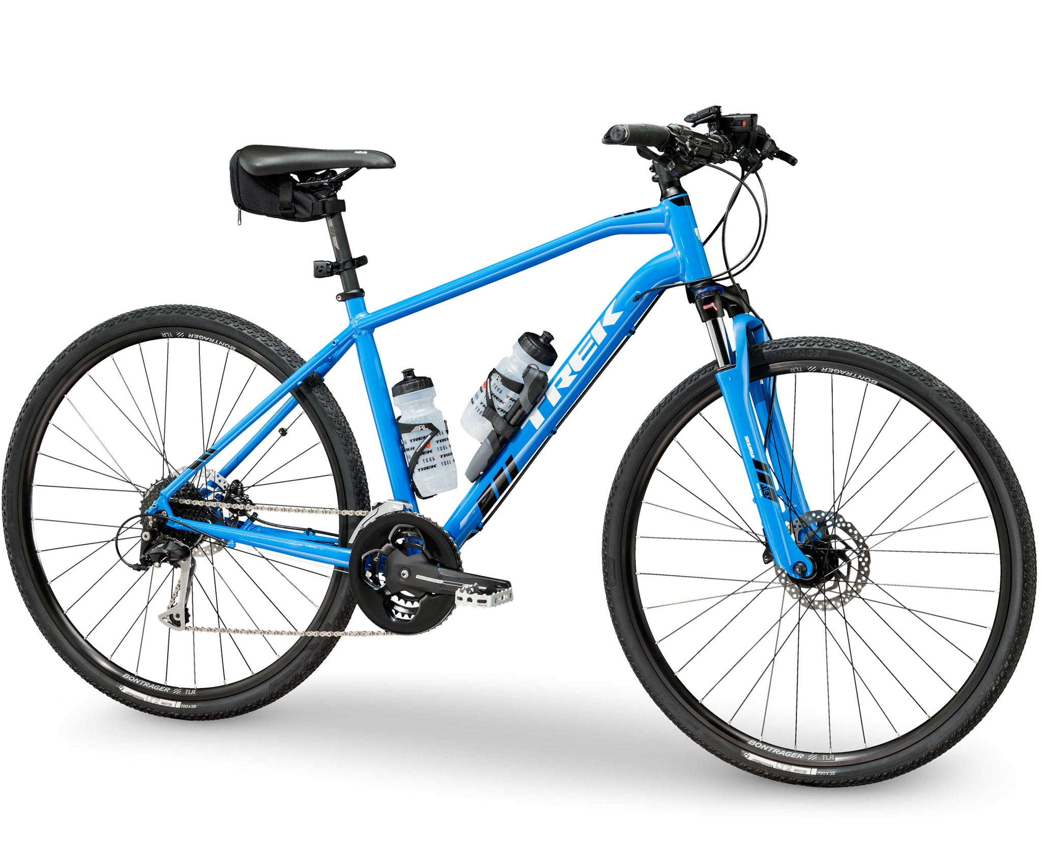 TREK DS 3 BLUE BICYCLE WITH FITTED ACCESSORIES