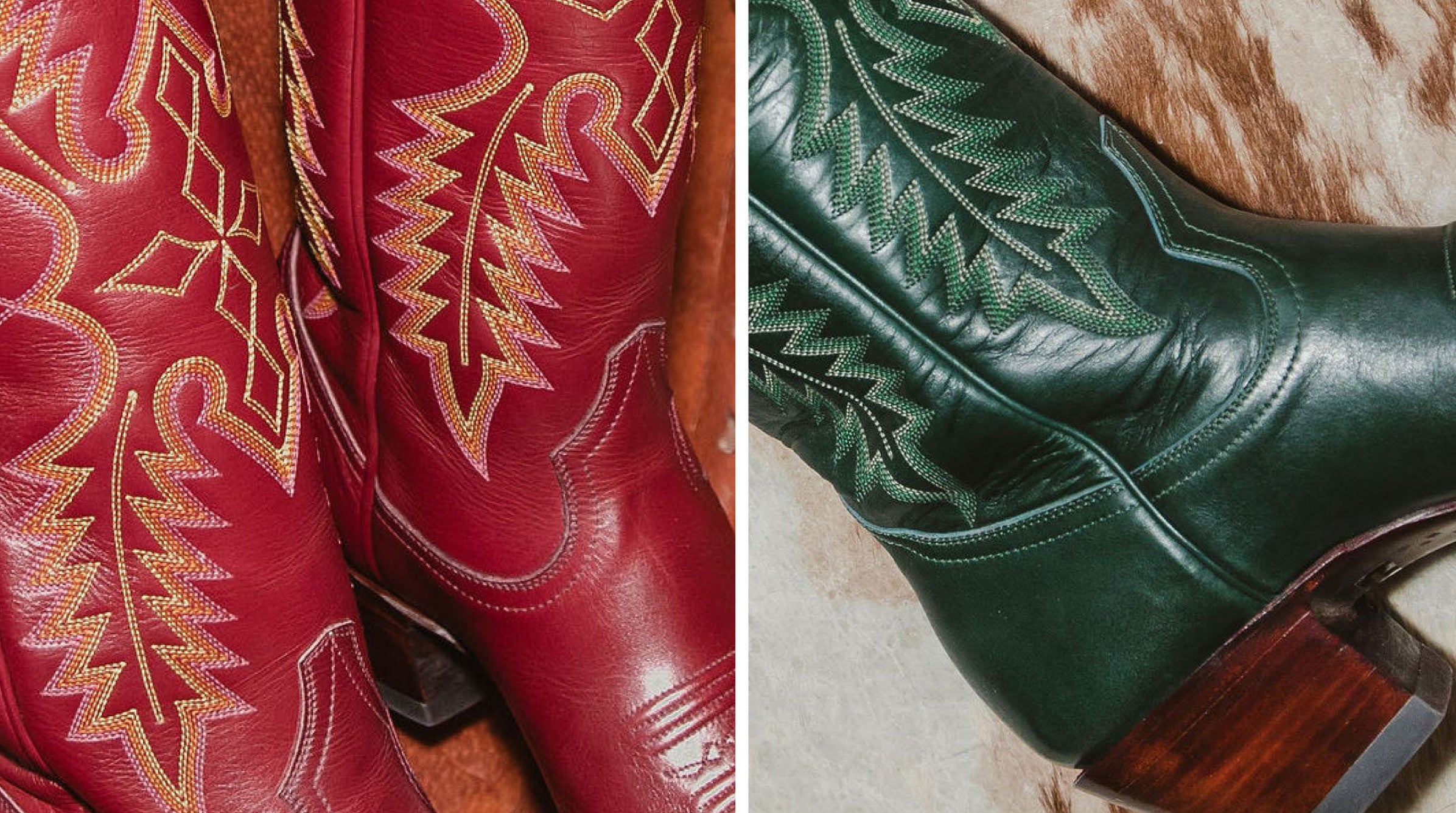 CITY Boots Red & Green Fall Cowboy Boots