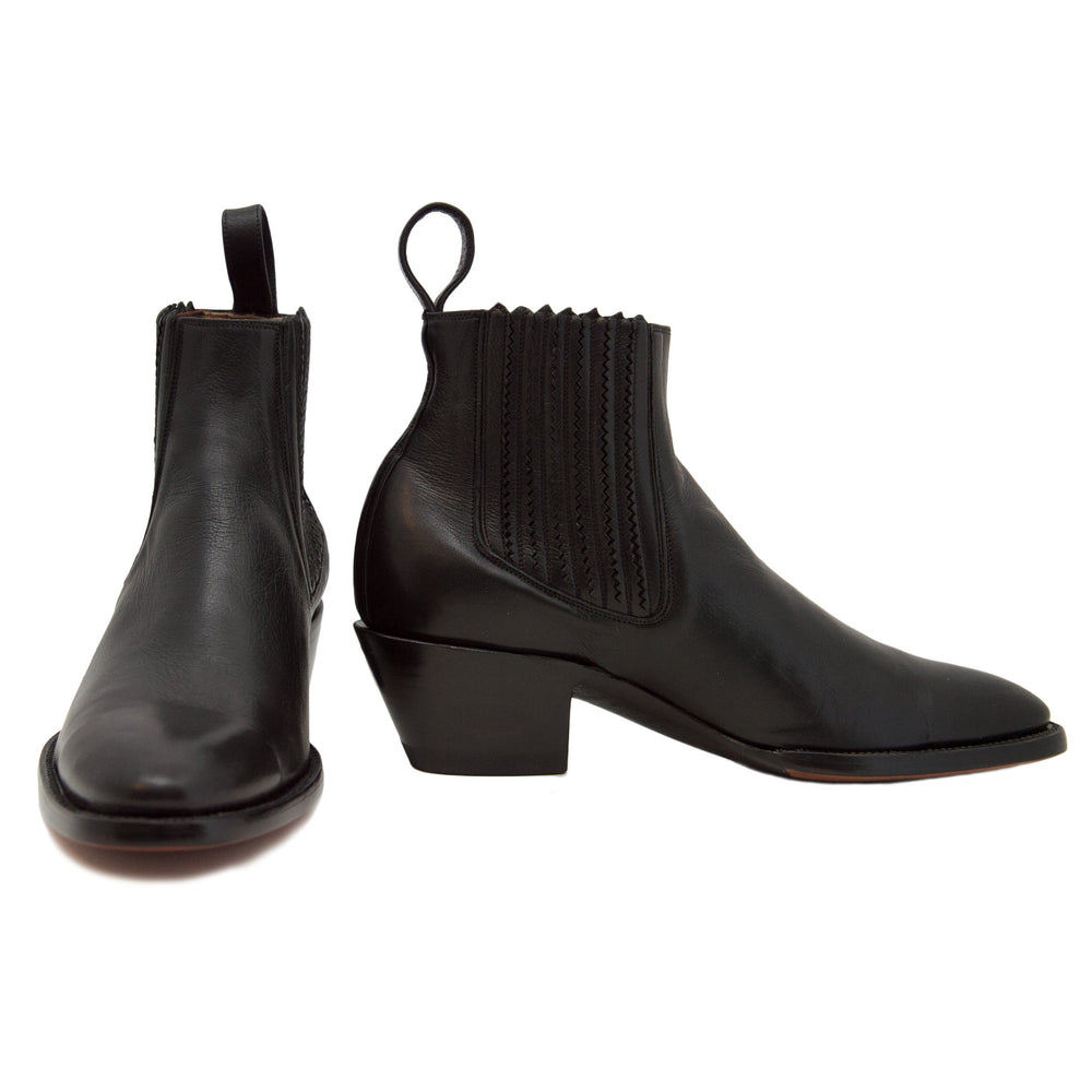 CITY Slicker Black Leather Slip-on Booties