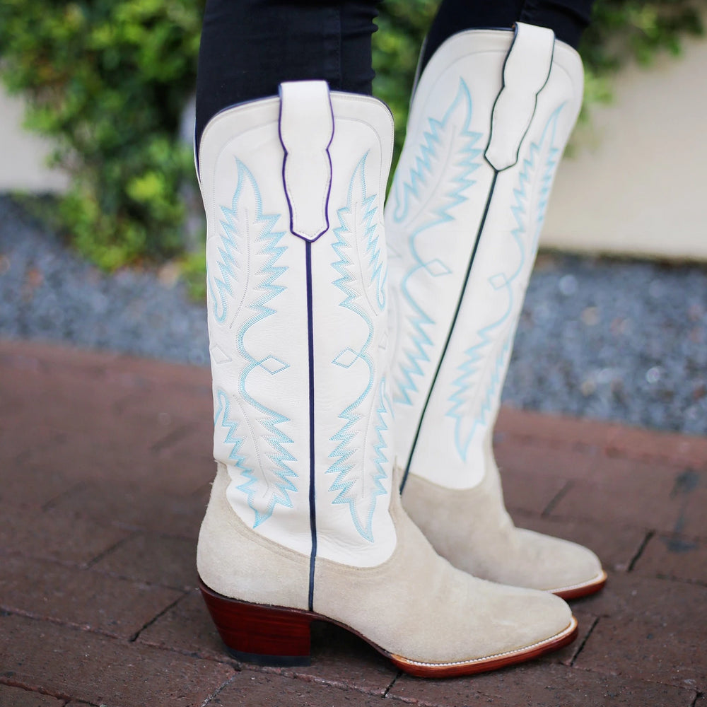 CITY Boots Concho Women's Two-Tone White Cowboy Boots - CITY Boots