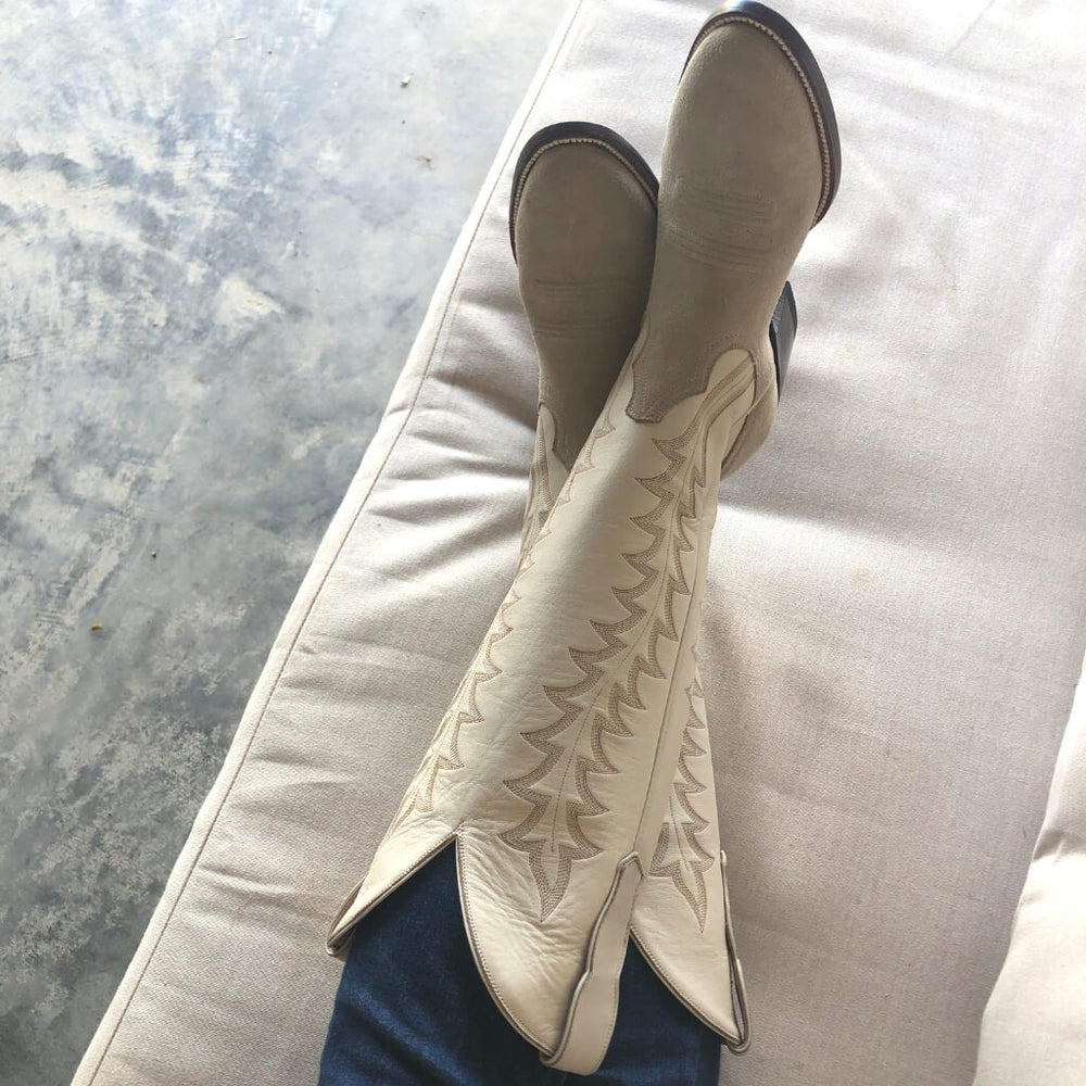 CITY Boots Amarillo Two-tone Off-White Suede Cowboy Boots