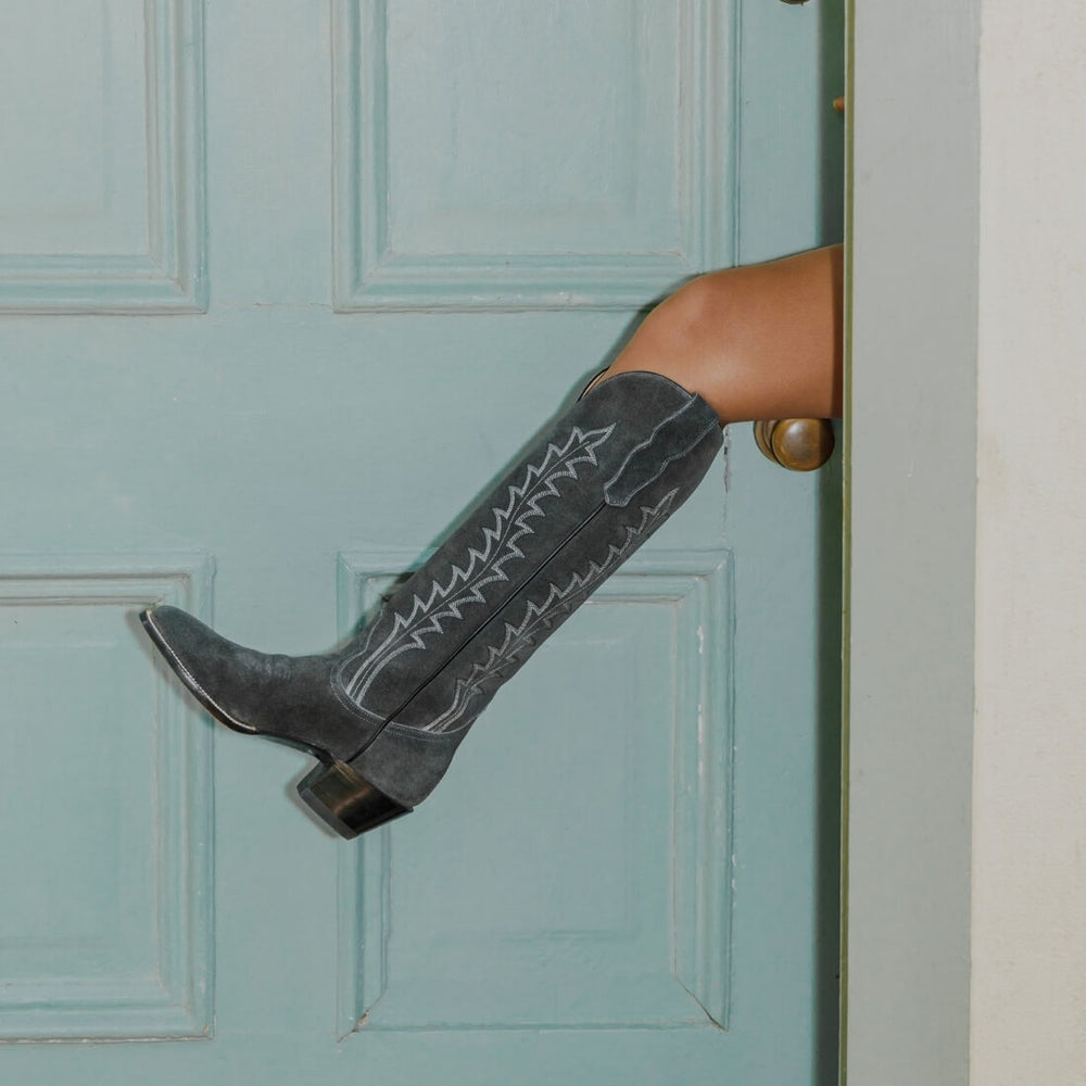 CITY Boots The Vickery Gray Suede Cowboy Boots