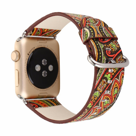 Floral Colorful Vintage Leather Band