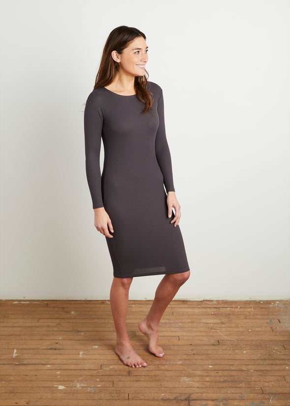 *FINE RIBBED* BODY DRESS (STEEL GRAY)