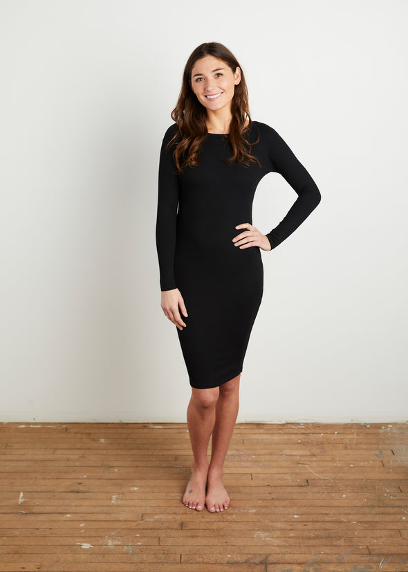 *RIBBED* BODY DRESS (BLACK)