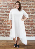 "CASCADE DRESS ""PETITE FIT"" — COTTON (WHITE)"