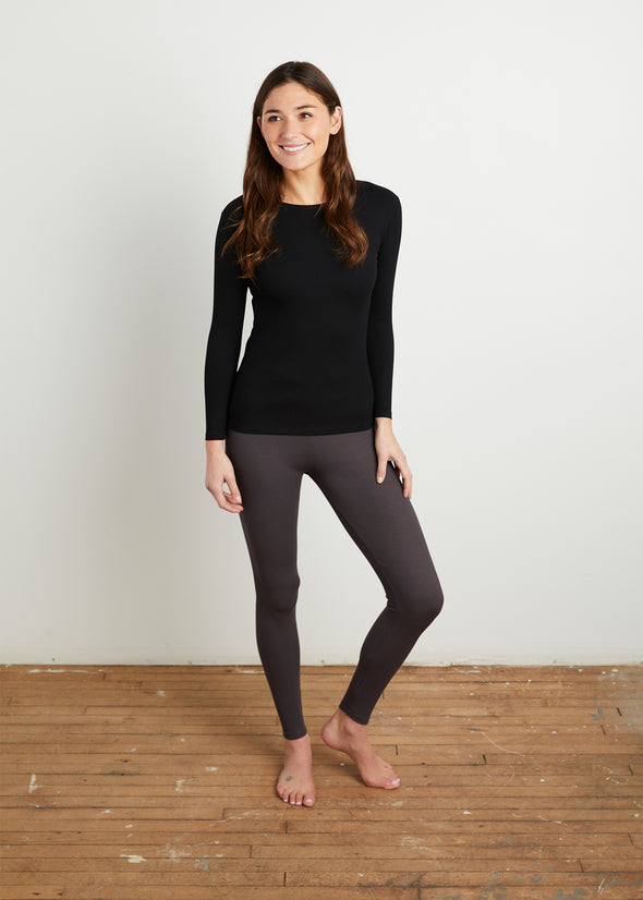 "*FINE RIBBED* ""LOYAL"" LEGGINGS (STEEL GRAY)"