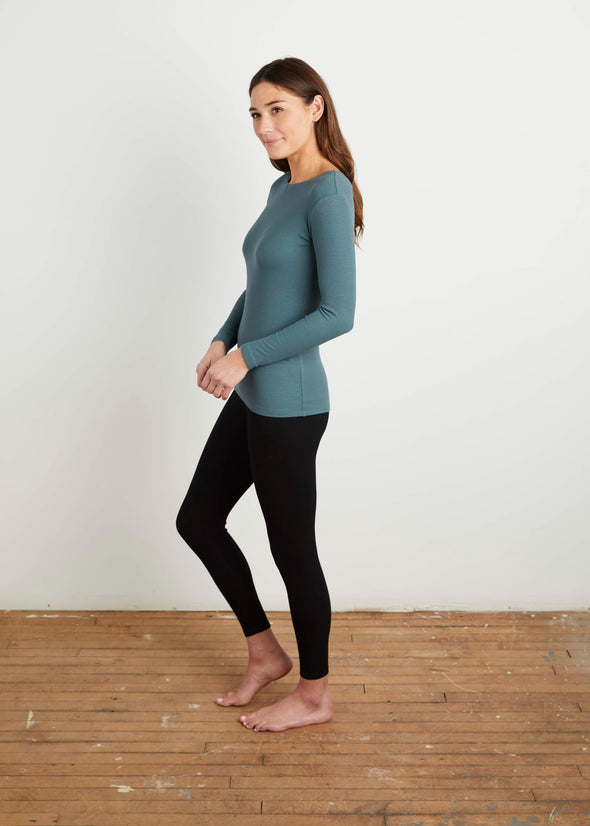 *FINE RIBBED* BODY TEE (TWILIGHT BLUE)