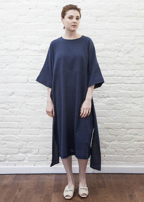 SASH DRESS (NAVY)