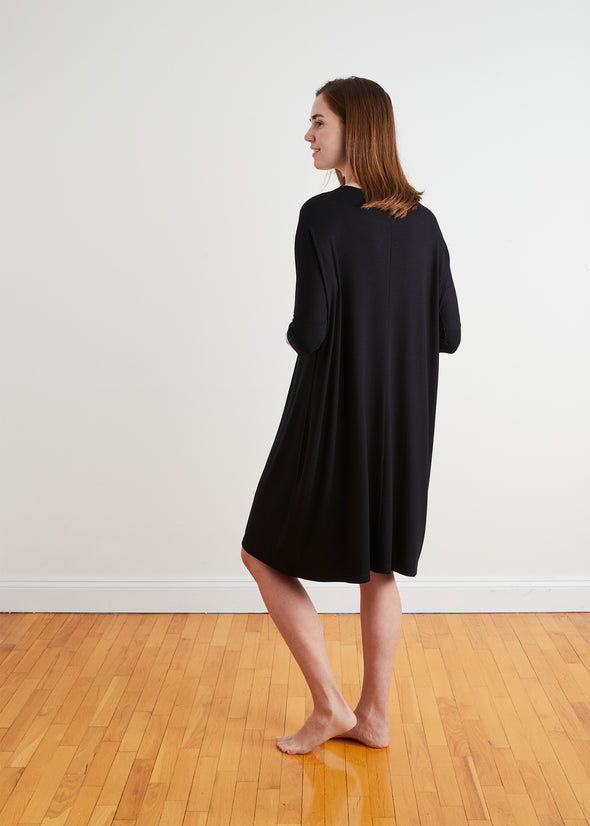 "*PRE-ORDER* FINE RIBBED FROCK ""CLASSIC"" (BLACK)"