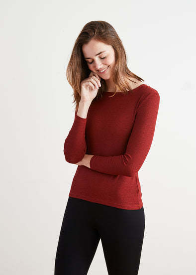 *FINE RIBBED* BODY TEE (CRANBERRY)