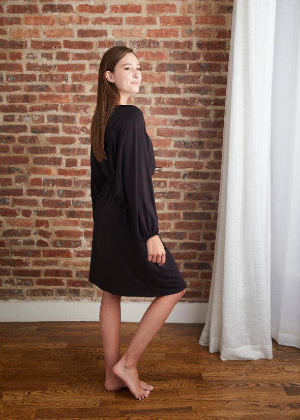 DRAWSTRING DRESS (BLACK)
