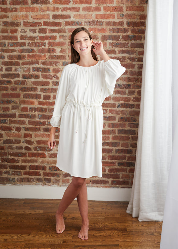 DRAWSTRING DRESS (CREAM)