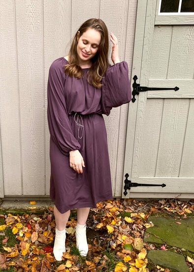 DRAWSTRING DRESS (POWDER PURPLE)