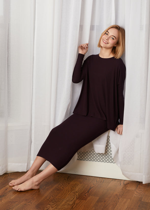 *FINE RIBBED* SKIRT LEGGINGS (EGGPLANT)