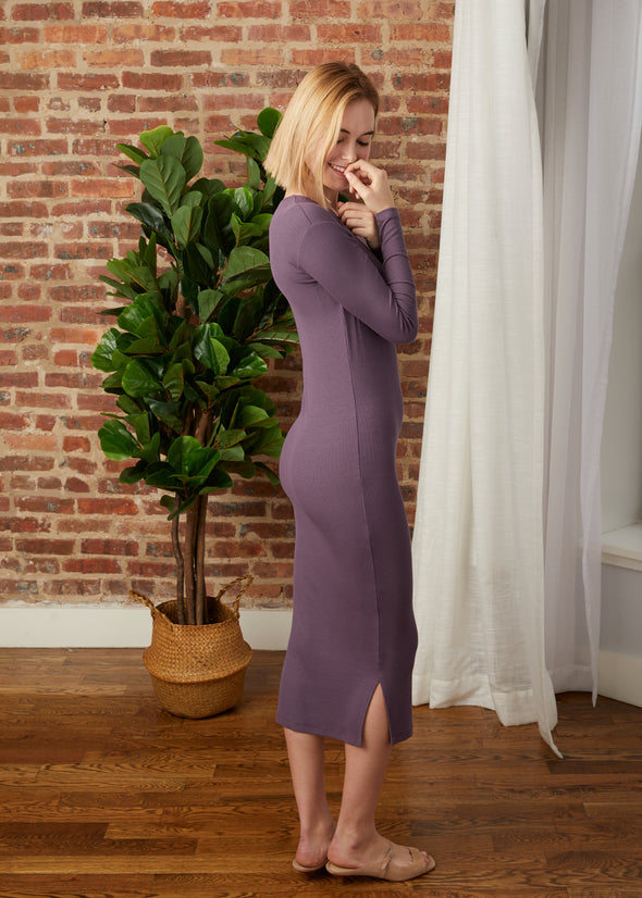 *FINE RIBBED* HUG DRESS (LILAC)